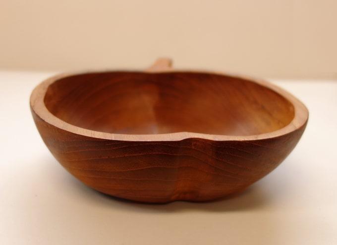 ヴィンテージ木製ボウル アップル