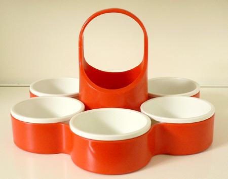 ac0105イギリス製DIALENE BETTER MAID レトロなオレンジ色のスナックトレー