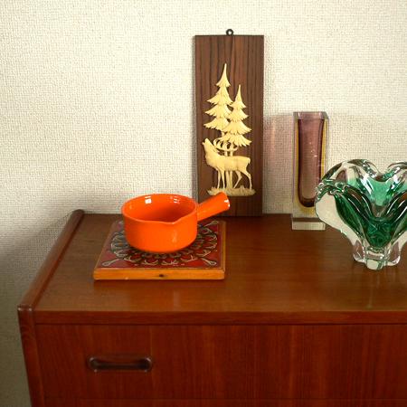 ac0158トナカイモチーフのウッドパネル*amber design*北欧家具やビンテージ雑貨等のインテリア通販