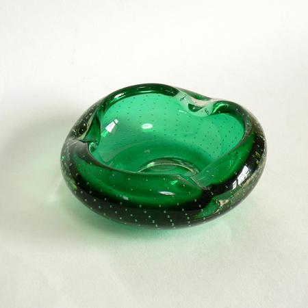ac0222MURANOガラス灰皿グリーン*amber design*北欧家具やヴィンテージ雑貨等のインテリア通販