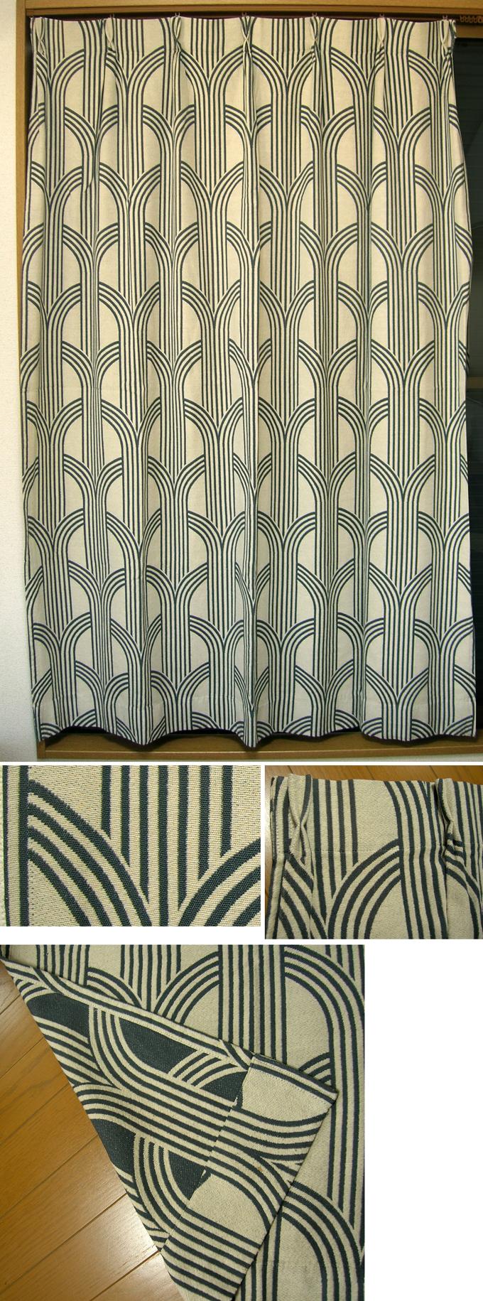 ac0230モダーンな柄のカーテン*amber design北欧中古家具やヴィンテージ雑貨等のインテリア