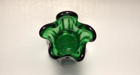ビンテージガラス 花瓶 緑色