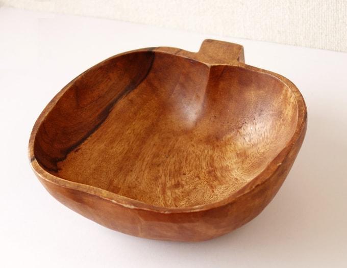 ビンテージ木製ボウル アップル