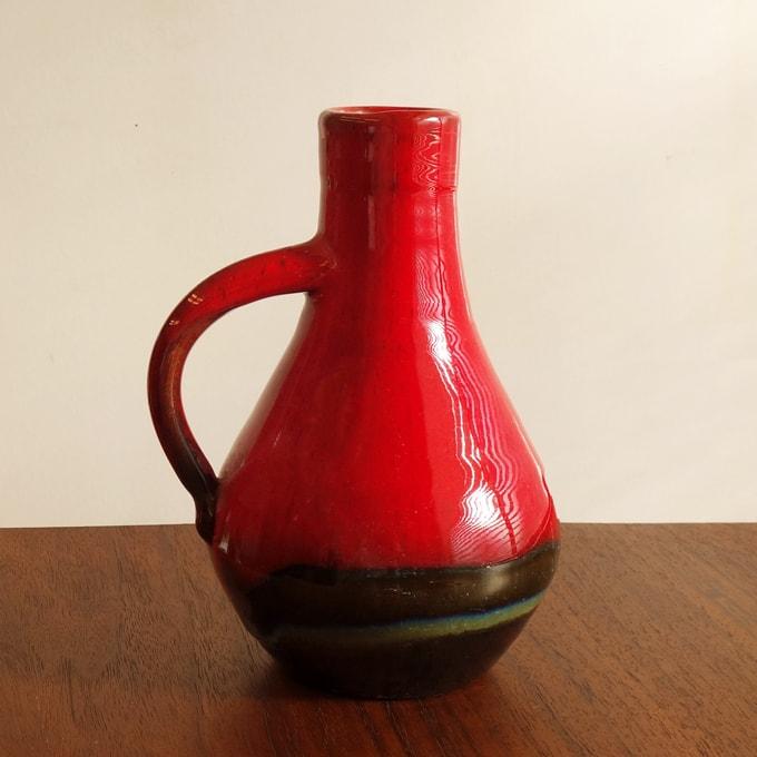 ベルギーのヴィンテージ花瓶 赤