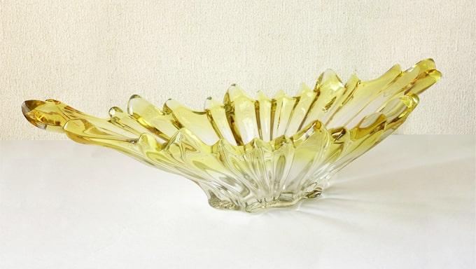 ヴィンテージのガラスボウル 黄色グラデーション