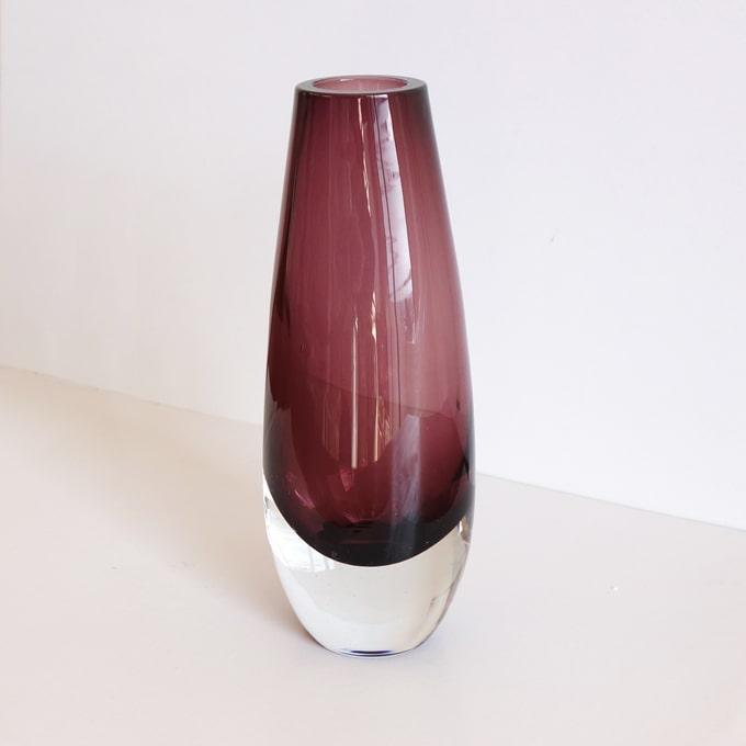 北欧ビンテージ紫ガラス花瓶