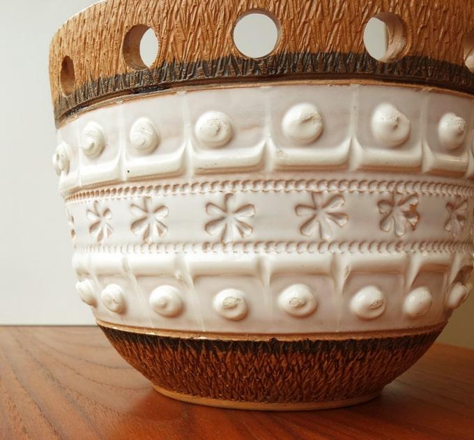 ヴィンテージ陶器の植木鉢ポット模様