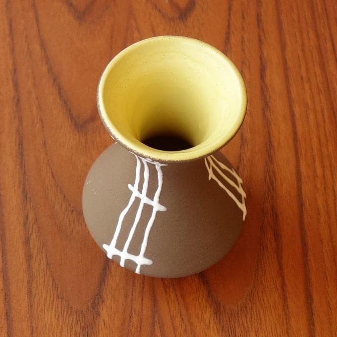 レトロな陶器フラワーベース 茶色と黄色