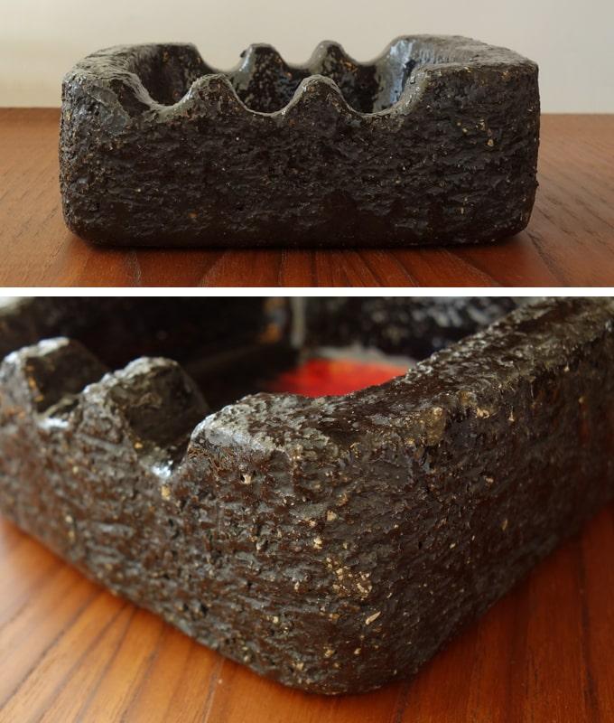 ヴィンテージ黒い陶器灰皿 アップ