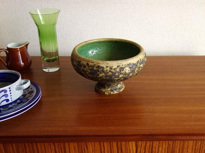 ヴィンテージ陶器ファットラヴァ 内側が緑