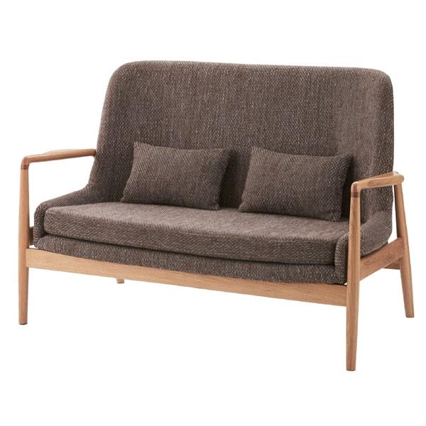 木枠二人掛けソファ グレーファブリック