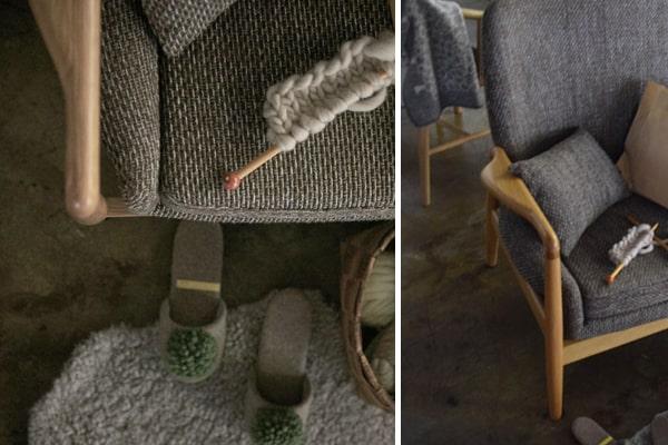ざっくり編みファブリックが素敵なソファ