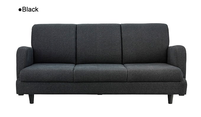 ブラックデニムの3人掛けソファ 正面