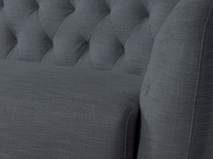 グレー色のダイヤステッチ座面のソファ