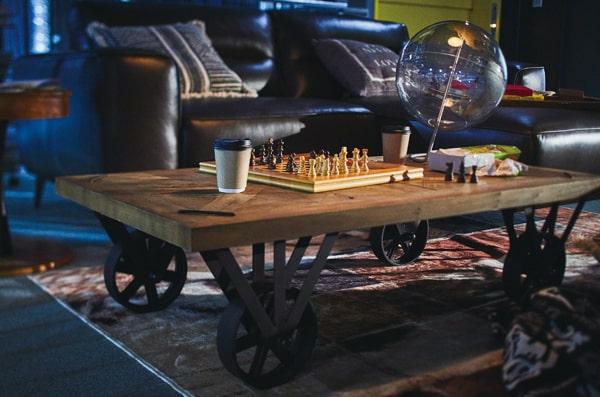 鉄製車輪つきインダストリアル系ローテーブル