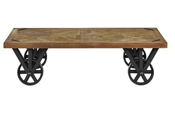 黒い鉄製車輪付きローテーブル
