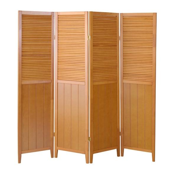 部屋の間仕切り4つ折り 木製ナチュラル