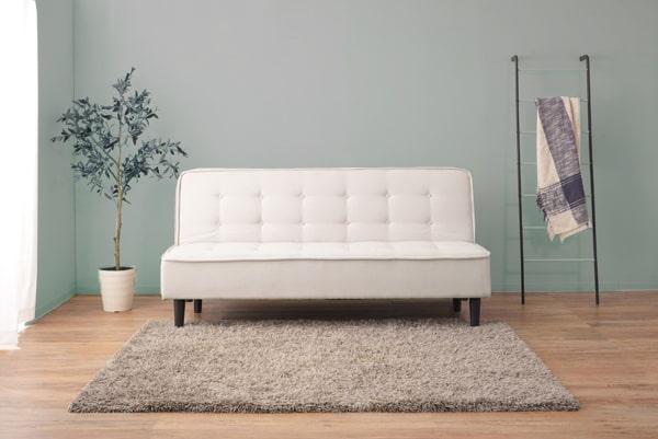 ソファベッド白 幅180cm
