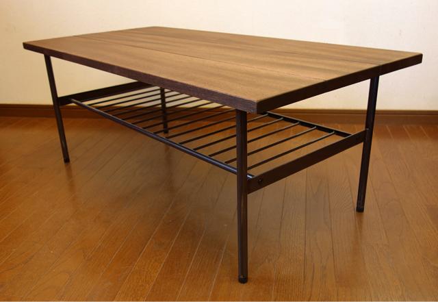黒アイアンレッグ コーヒーテーブル 無垢材
