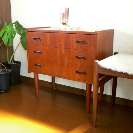 ft0183チーク3段チェスト *amber design*北欧家具やビンテージ雑貨等のインテリア通販