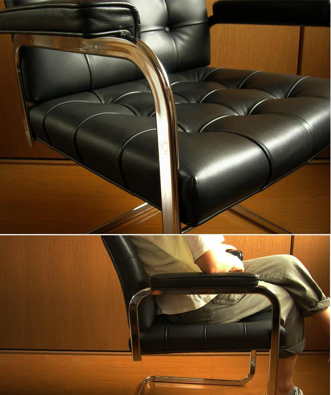 ft0258モビリア黒レザーチェア*amber designデザイナーズ中古家具ビンテージ北欧家具通販アンバーデザイン