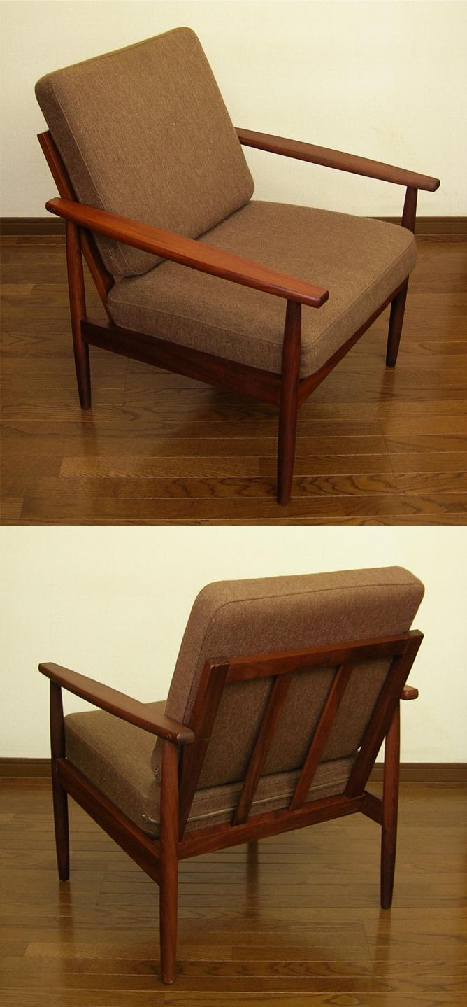 ココアブラウン色イージーチェア全体amber designビンテージ北欧中古家具アンティーク雑貨通販アンバーデザイン
