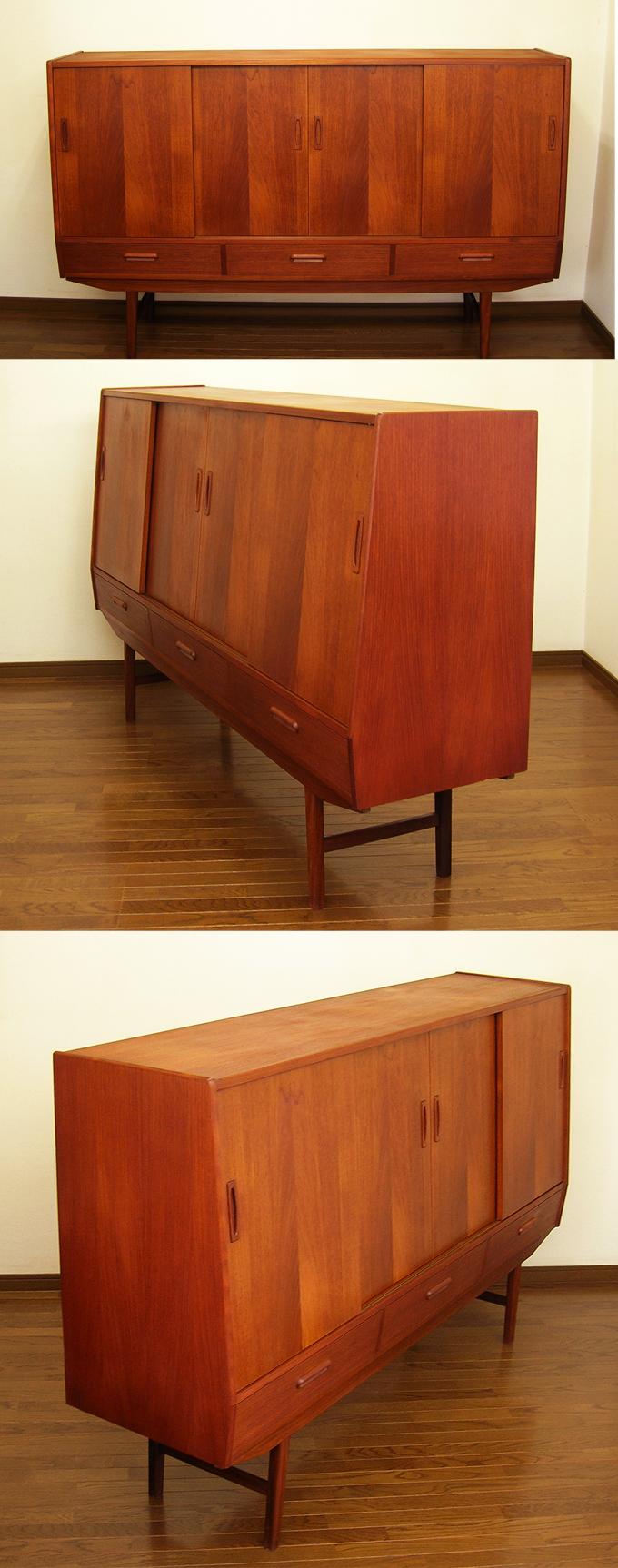 チーク・サイドボード全体amber designビンテージ北欧中古家具アンティーク雑貨通販アンバーデザイン