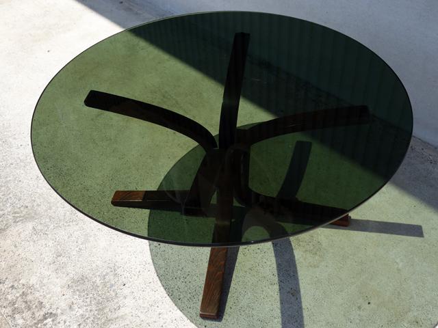 ガラステーブル丸型 北欧ビンテージ家具