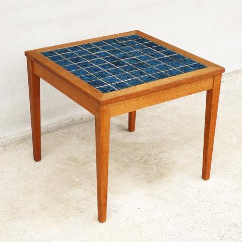 タイルトップテーブル青 北欧ヴィンテージ家具