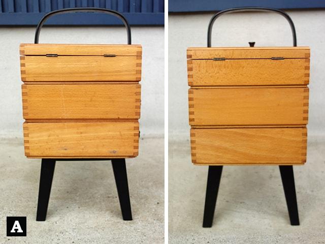 木製ソーイングボックス側面A