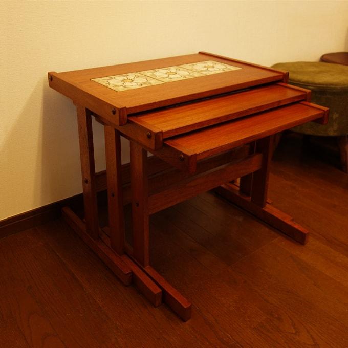 タイルトップテーブル 3個セット ネストテーブル