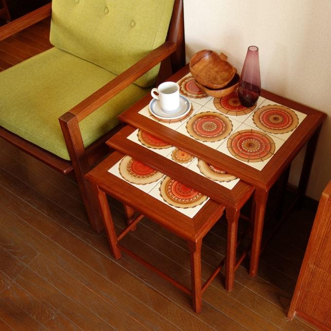 北欧ビンテージ タイルのネストテーブル
