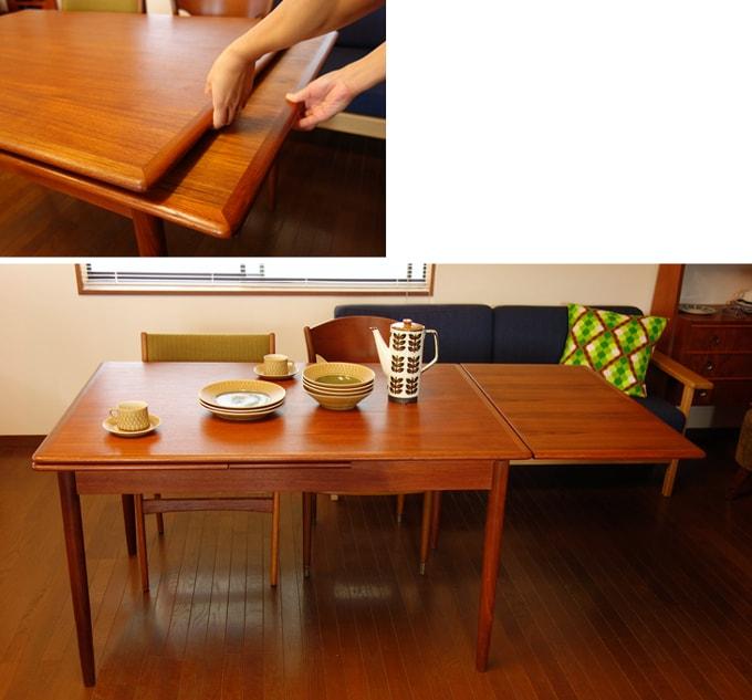 テーブル板を持ち上げて天板を広げる