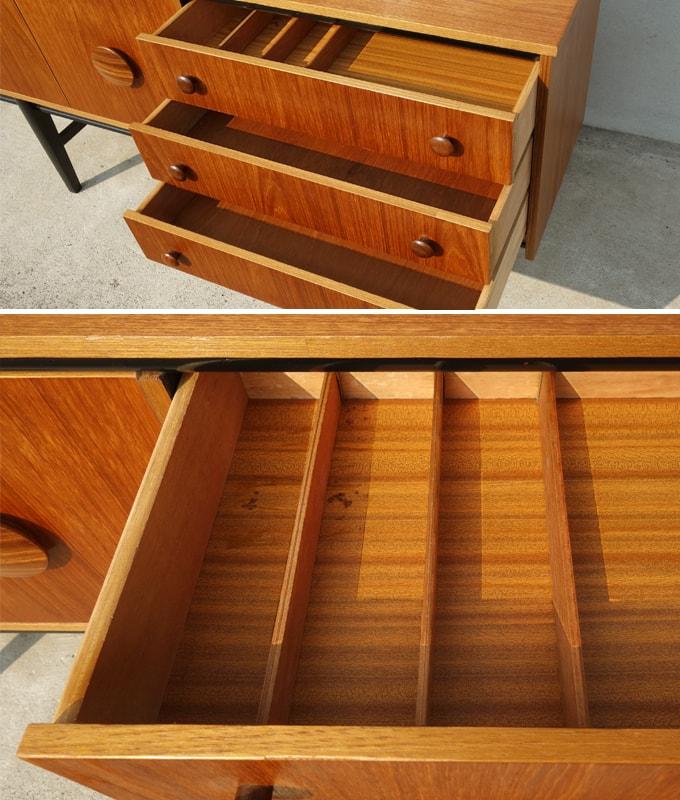 ヴィンテージ木製サイドボード ひきだし内部