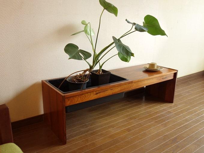 ヴィンテージ木製プランター テーブル付き