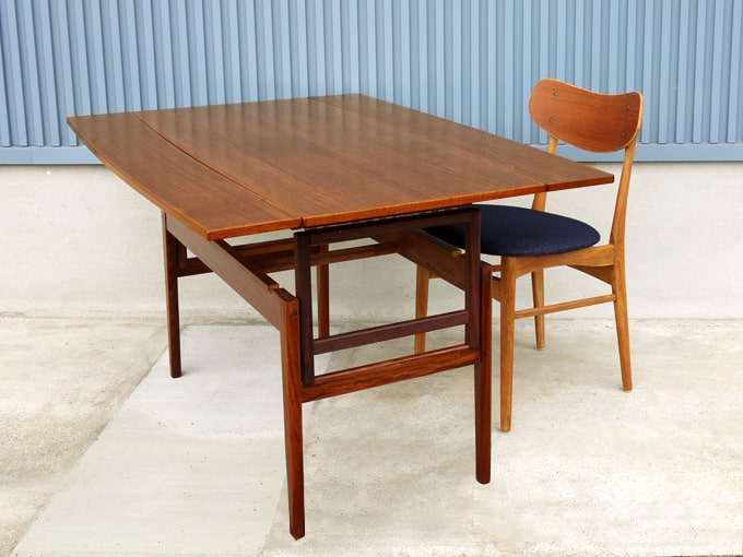 北欧テーブル 高さ調節可・天板拡張式