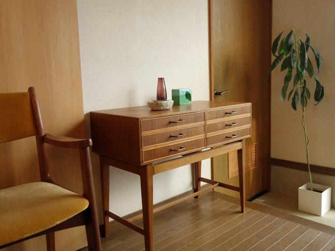 ヴィンテージ木製ミニチェスト ひきだし2列3段