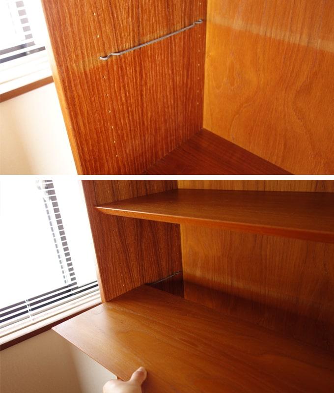 ヴィンテージ本棚 棚板は高さ調節可能