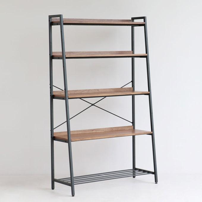 鉄脚5段オープンシェルフ 天然木棚板