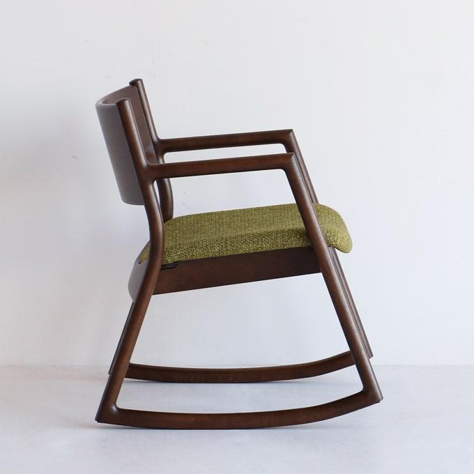 ダークブラウン木製ロッキングチェア 座面グリーン