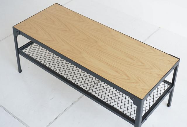 ローテーブル オーク×鉄脚