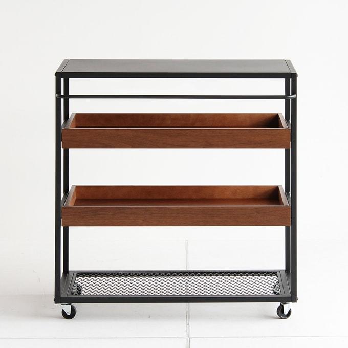 キャスター付きオープンシェルフ インダストリアル家具