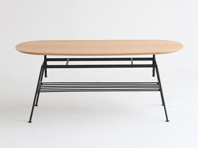 オーク天然木テーブル 高さ調整可