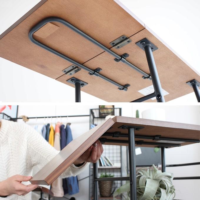 裏にある金具を引き出して天板を広げる