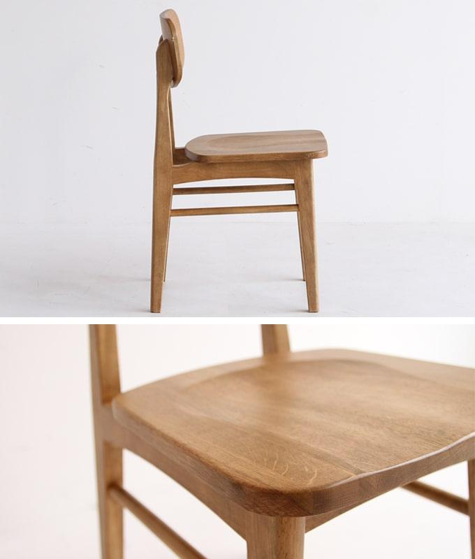 木製ダイニングチェア 側面と座面