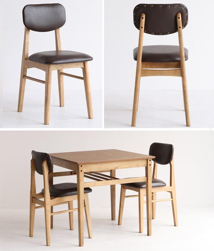 小さめダイニングテーブルとダークブラウン椅子