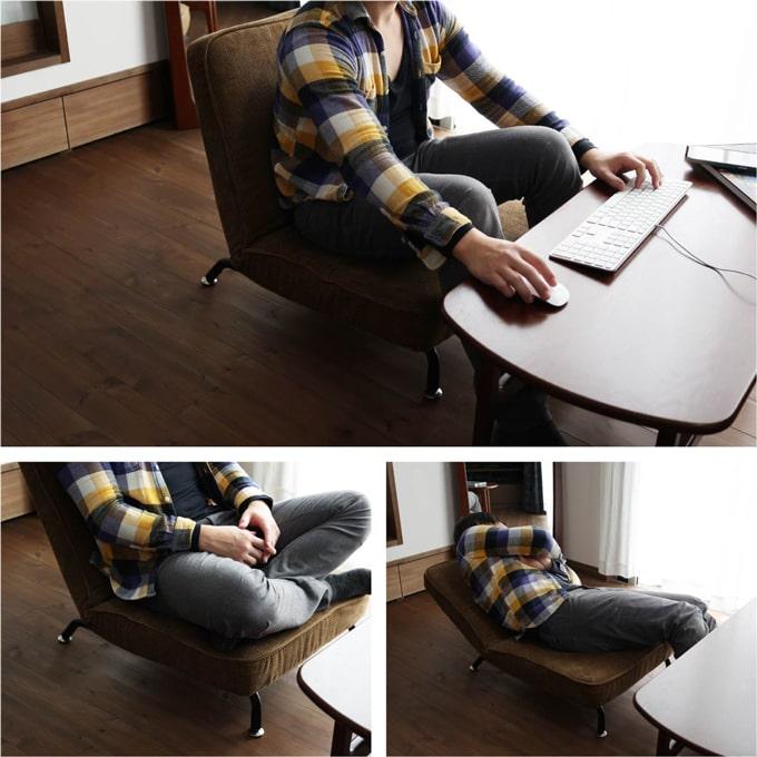 座面を倒せる低めのシングルソファ