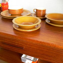 tw0172アンバーガラスのトレーセット *amber design*北欧中古家具やビンテージ雑貨等のインテリア通販