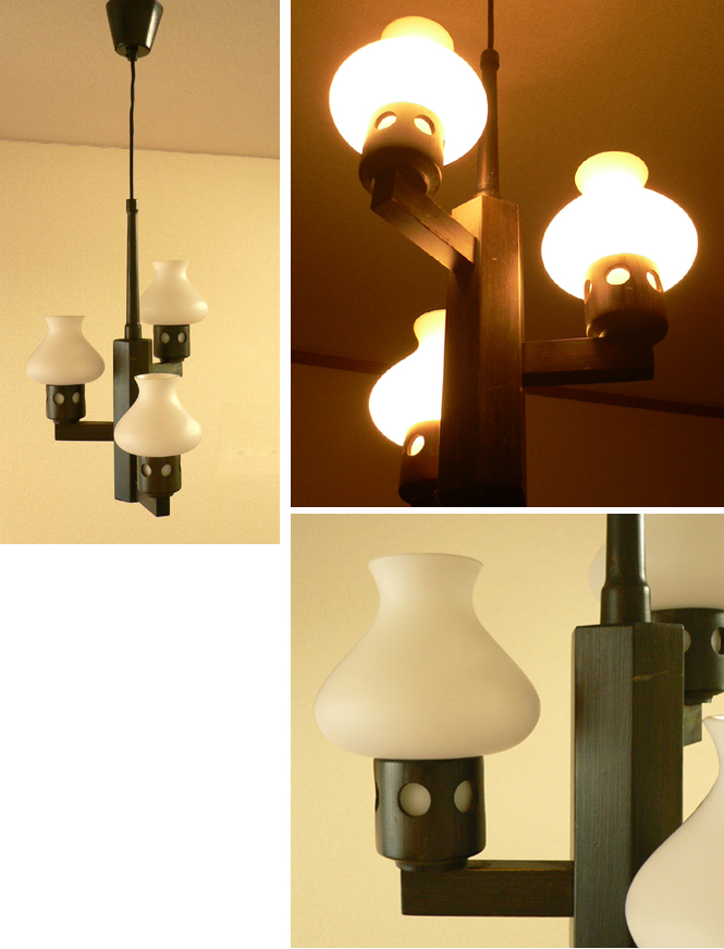 lt0054オランダの3灯シーリングライト*amber design*北欧家具やビンテージ雑貨等のインテリア通販