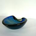 ムラノグラス灰皿ブルーXアンバー